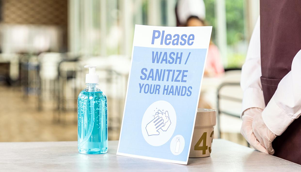 Panorama hand sanitizer in restaurant