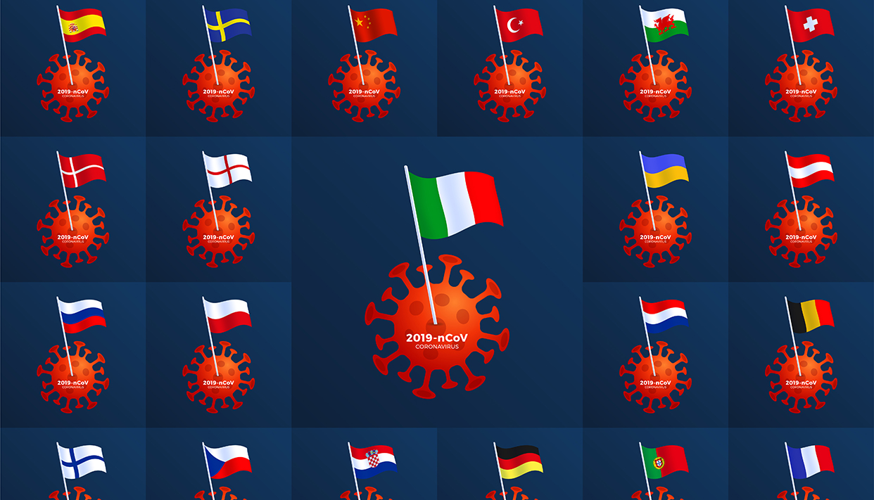 Set vector Europe country flag pinned to a coronavirus. Stop 201