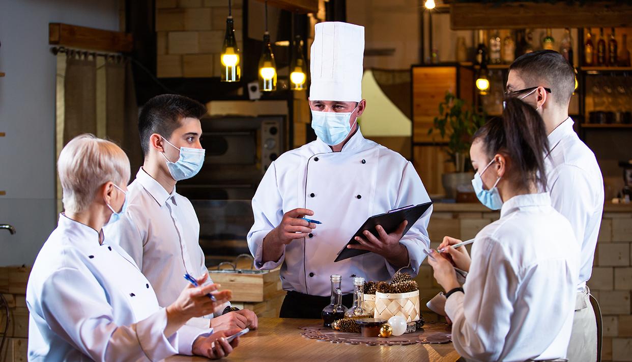 staff briefing in the restaurant