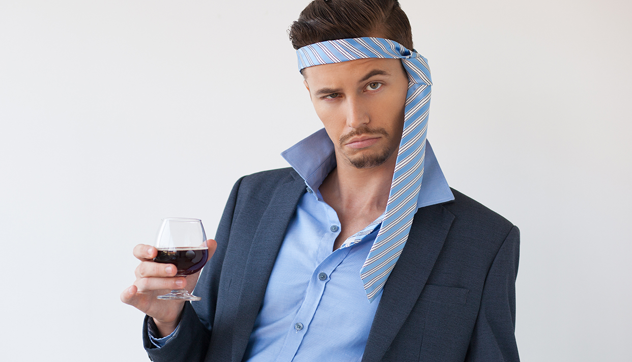 Drunk Business Man with Tie on Head and Glass