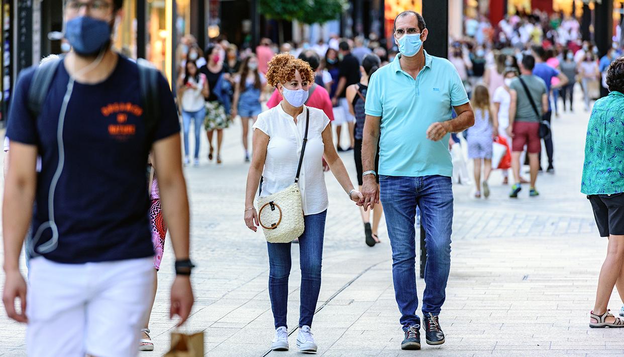 ANDORRA LA VEL, ANDORRA – Jul 10, 2020: People Walk in the Comercial Street named Meritxell after COVID1