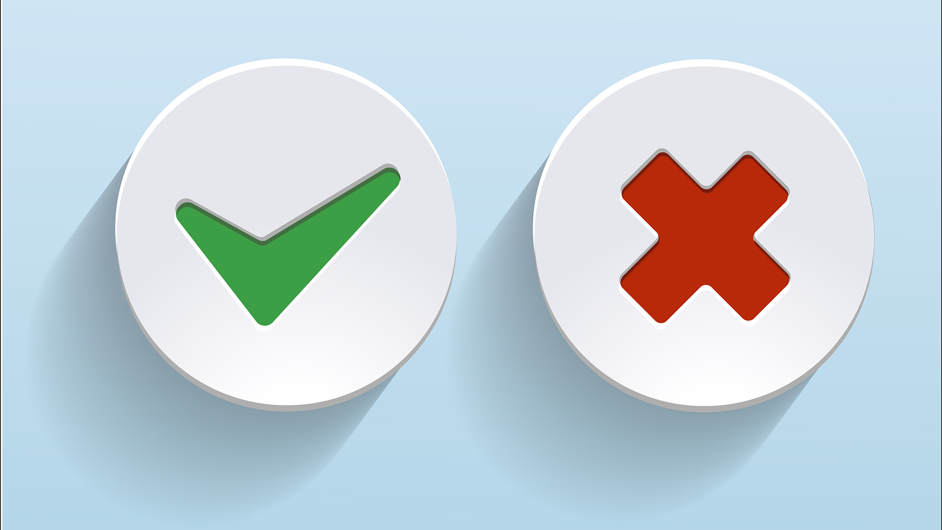 Vector Yes and No check marks on circles